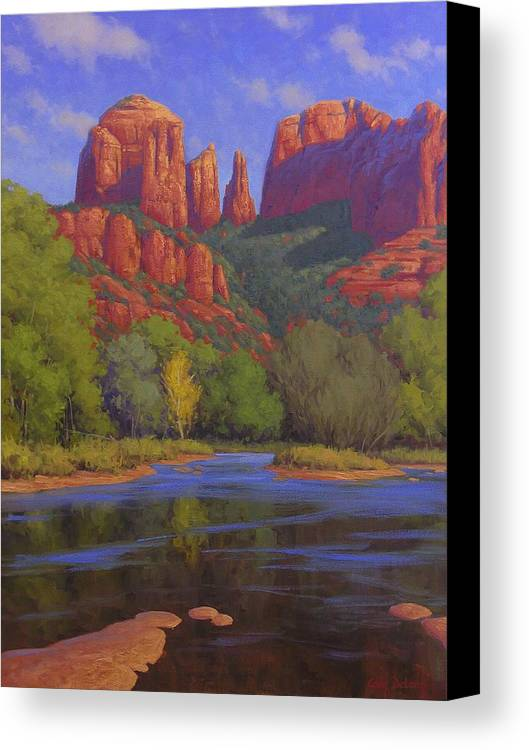 Sedona Canvas Print featuring the painting Cathedral Morning by Cody DeLong