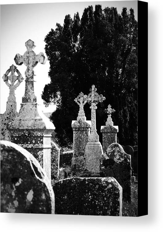 Celtic Canvas Print featuring the photograph Celtic Crosses At Fuerty Cemetery Roscommon Ireland by Teresa Mucha
