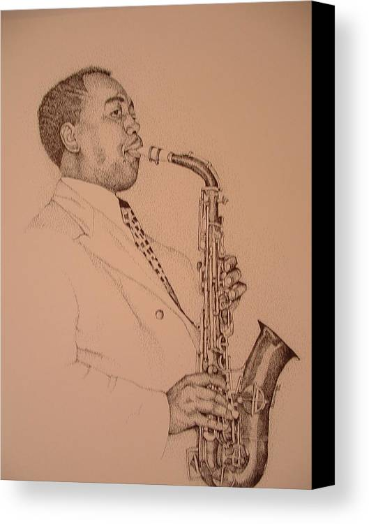 Sax Player Canvas Print featuring the drawing Charlie Parker by Leonard R Wilkinson