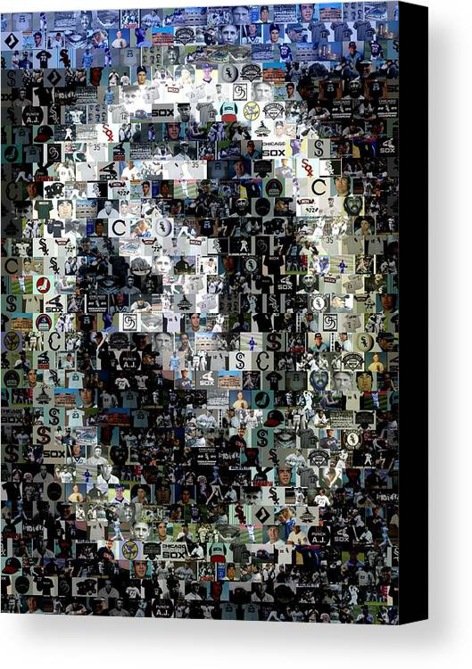 Chicago Canvas Print featuring the digital art Chicago White Sox Ring Mosaic by Paul Van Scott