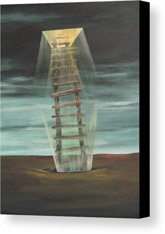 Surrealism Canvas Print featuring the painting Chickasaw's Ladder by K Hoover
