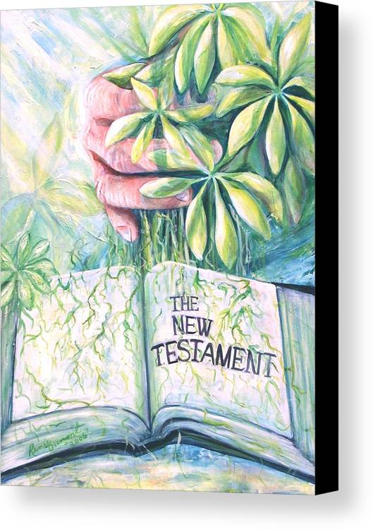 Contemporary Canvas Print featuring the painting Christian Artist Rooted In The Word by Renee Dumont Museum Quality Oil Paintings Dumont