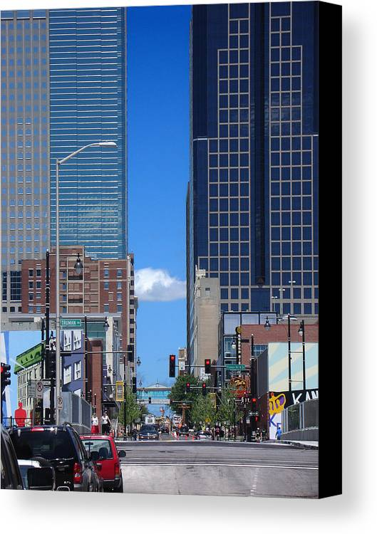 Kansas City Canvas Print featuring the photograph City Street Canyon by Steve Karol