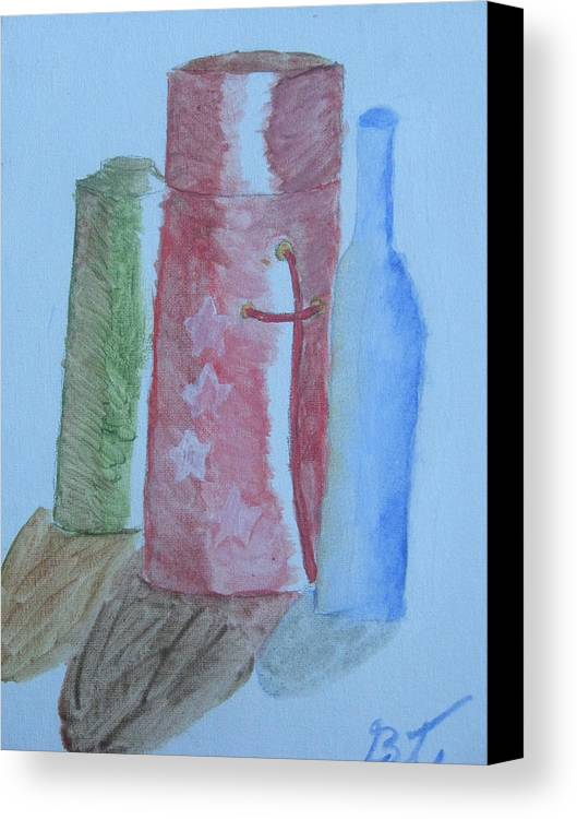 Acrylic Still Life Bottles Canvas Print featuring the painting Color And Shading by Brianna Emily Thompson