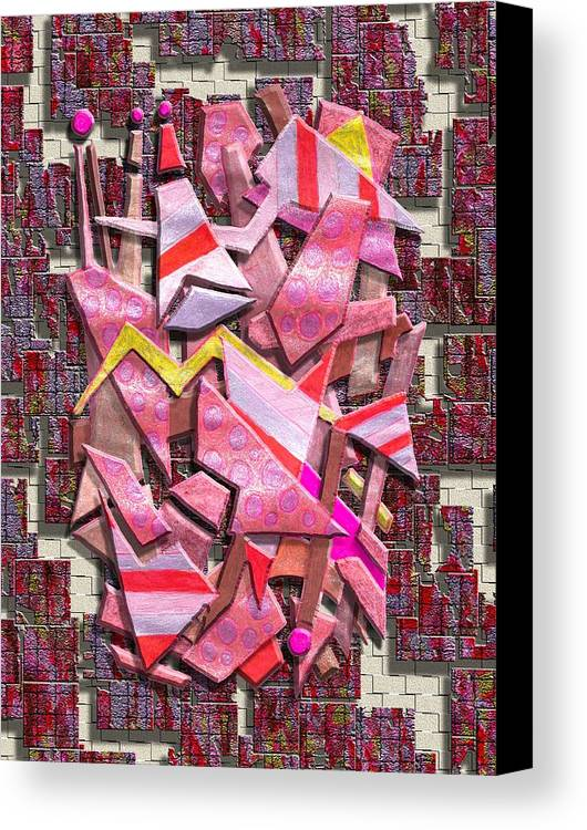 Abstract Canvas Print featuring the digital art Colorful Scrap Metal by Mark Sellers
