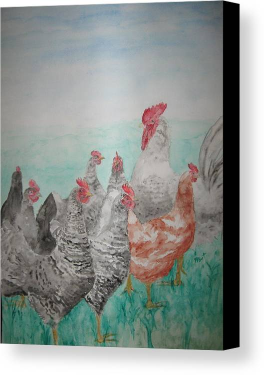 Chickens Canvas Print featuring the painting Congregation by Diana Prout