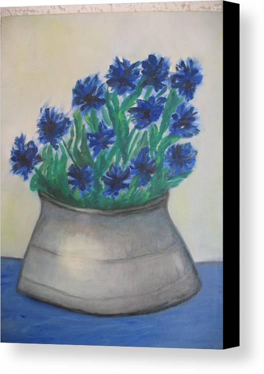 Maria Kolucheva Canvas Print featuring the painting Cornflower by Maria Kolucheva