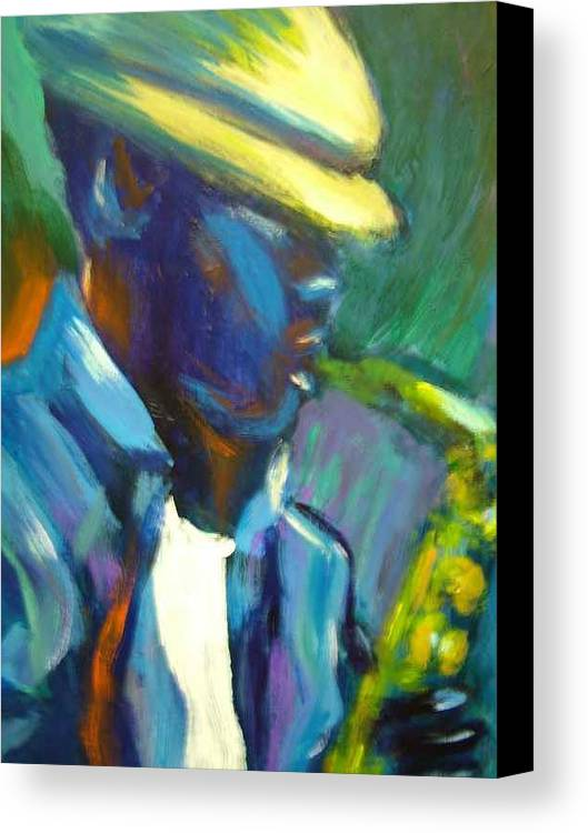 Sax Player Canvas Print featuring the painting D by Jan Gilmore