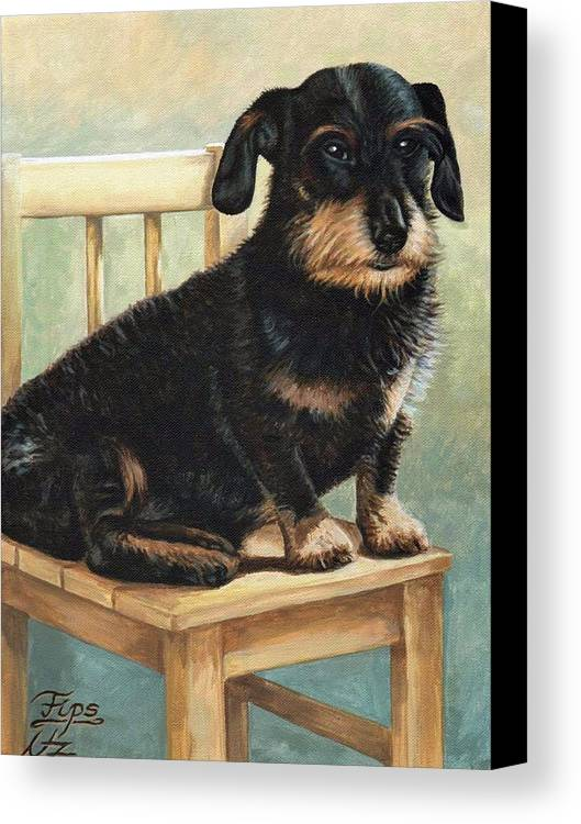 Dog Canvas Print featuring the painting Dachshund by Nicole Zeug