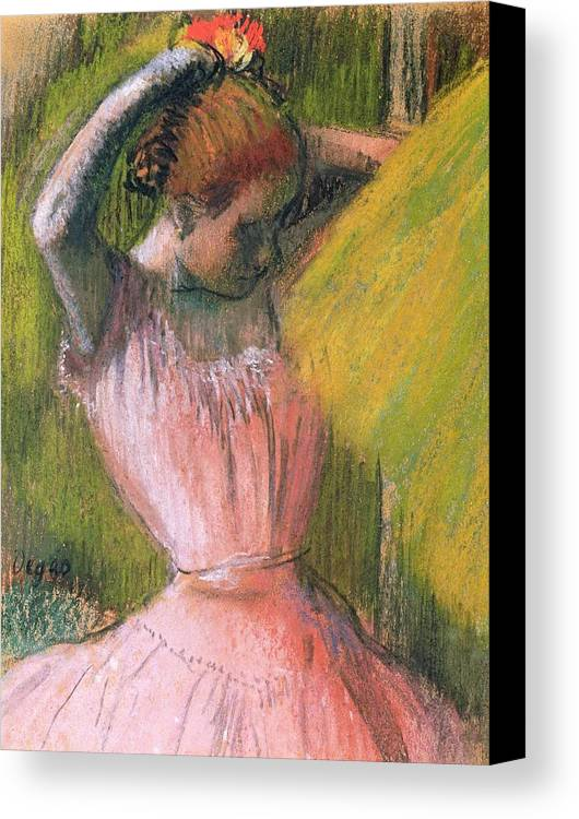 Ballerina; Drawing; Hairstyle; Pink Tutu; Ballet; Rehearsal; Rehearsing; Impressionist; Edgar Degas Canvas Print featuring the pastel Dancer Arranging Her Hair by Edgar Degas