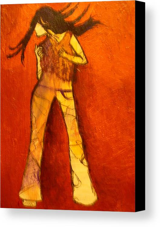 Portrait Canvas Print featuring the painting Dancing In The Club by L Visser