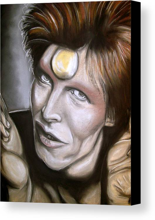 David Canvas Print featuring the drawing David Bowie As Ziggy Stardust by Zach Zwagil
