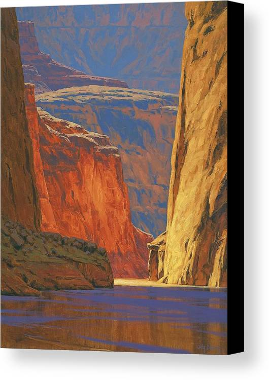 Grand Canyon Canvas Print featuring the painting Deep In The Canyon by Cody DeLong