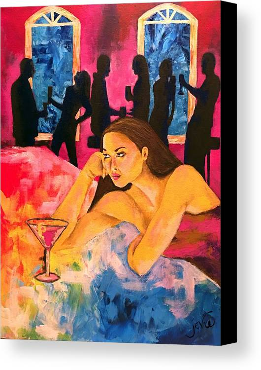 Ditched Canvas Print featuring the painting Ditched, Nightclub Bar Painting by Jevie Stegner