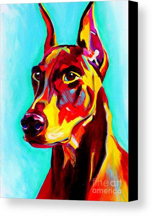 Dog Canvas Print featuring the painting Doberman - Prince by Alicia VanNoy Call