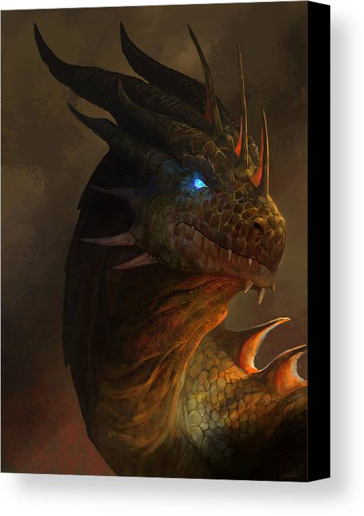 Dragon Art Canvas Print featuring the mixed media Dragon Portrait by Steve Goad