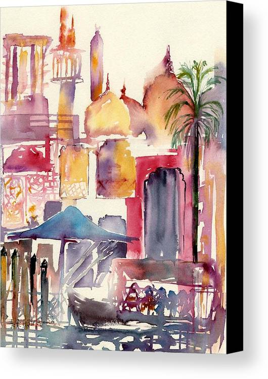 Landscape Canvas Print featuring the painting Dubai Creekside by Beena Samuel