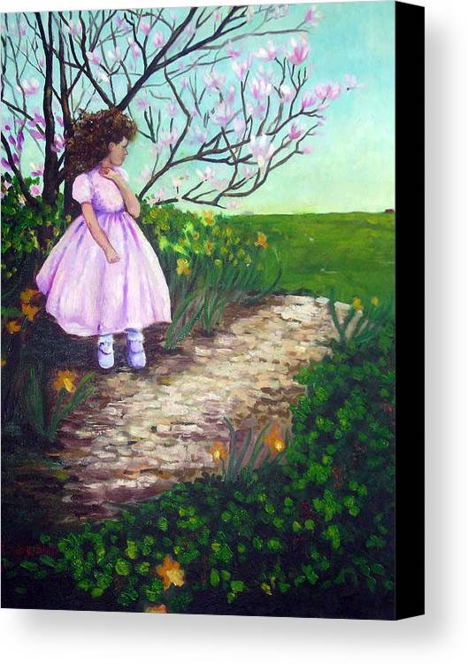 Landscape Child Girl Brunette Party Dress Flowers Impressionist Canvas Print featuring the painting Easter In Hershey by Hilary England