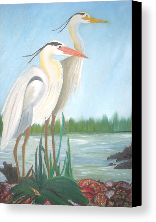 Animals Canvas Print featuring the painting Egrets by AVK Arts
