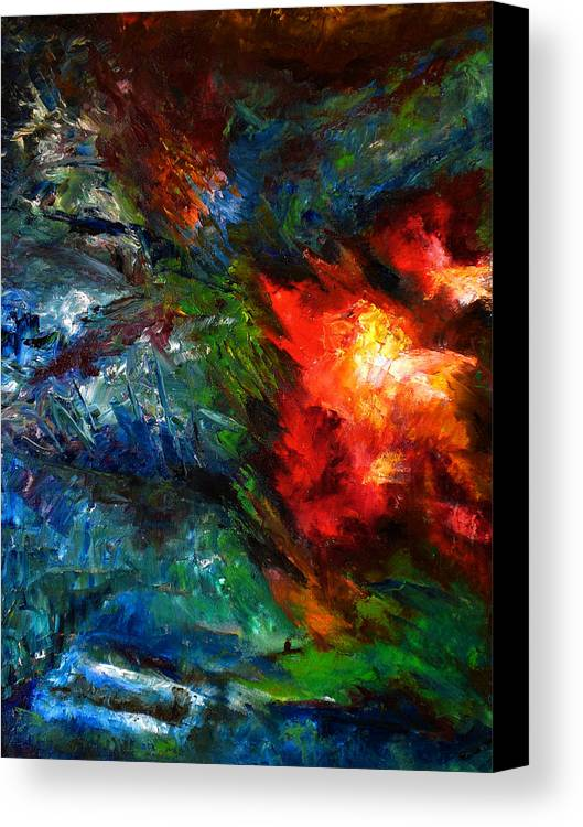 Abstract Canvas Print featuring the painting Embrace by Lou Ewers