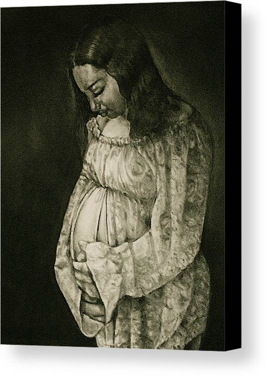 Expecting Canvas Print featuring the drawing Expecting by Curtis James