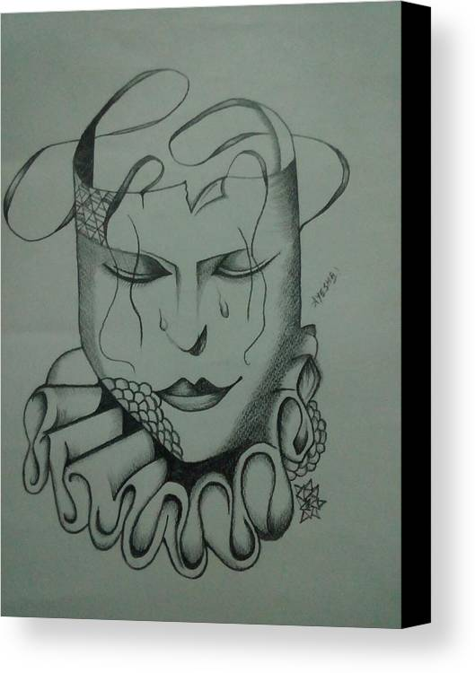 Realistic Face Canvas Print featuring the drawing Expressionless by Saad Dilawer