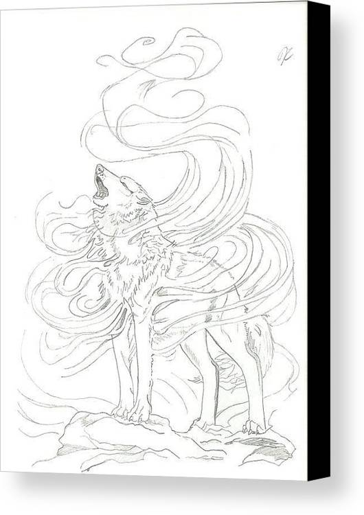 Wolf Canvas Print featuring the drawing Fading Away by Jessica Richardson