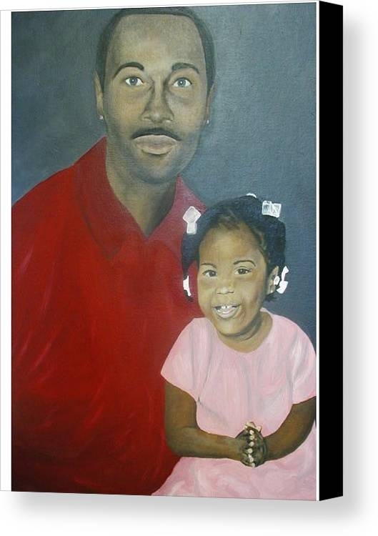 Portrait Canvas Print featuring the painting Father And Daughter by Angelo Thomas