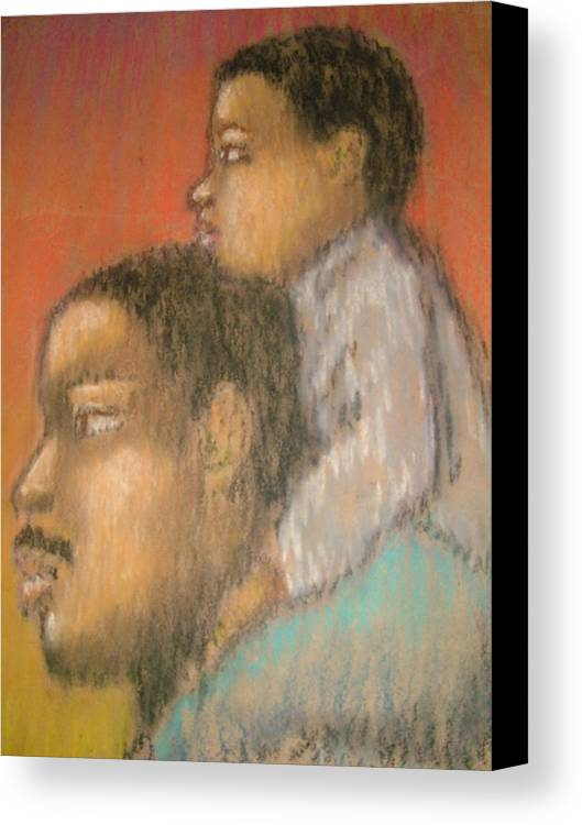 Canvas Print featuring the drawing Father And Son by Jan Gilmore