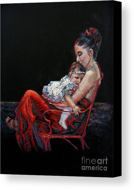 Mother Canvas Print featuring the painting Fiesta Siesta by Shirley Leswick