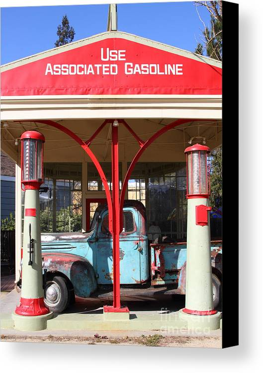 Transportation Canvas Print featuring the photograph Filling Up The Old Ford Jalopy At The Associated Gasoline Station . Nostalgia . 7d12884 by Wingsdomain Art and Photography