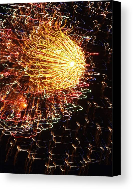 Fireworks Canvas Print featuring the photograph Fire Flower by Karen Wiles