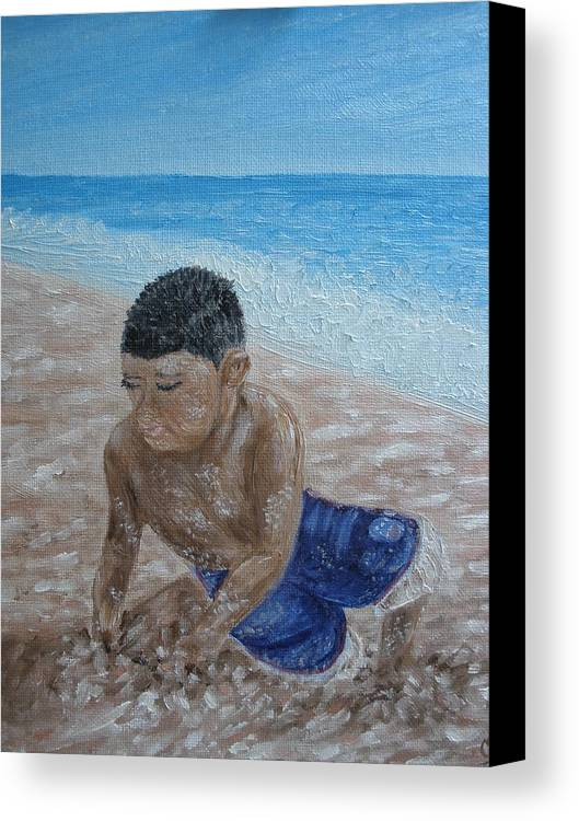 Beach Canvas Print featuring the painting First Day At The Beach by Carrie Mayotte