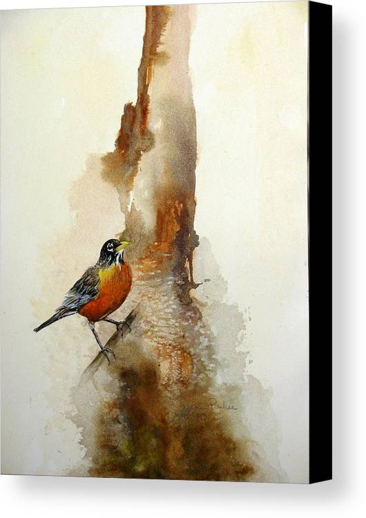 Robin Canvas Print featuring the painting First Sign Of Spring by Lynne Parker