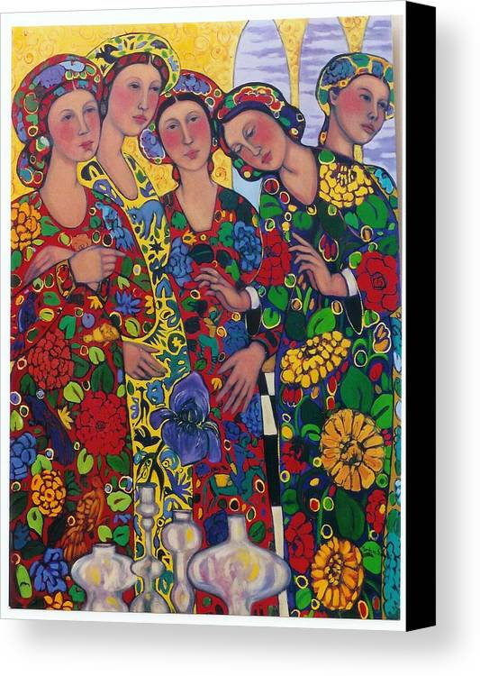 Five Women And The Iris Canvas Print featuring the painting Five Women And The Iris by Marilene Sawaf