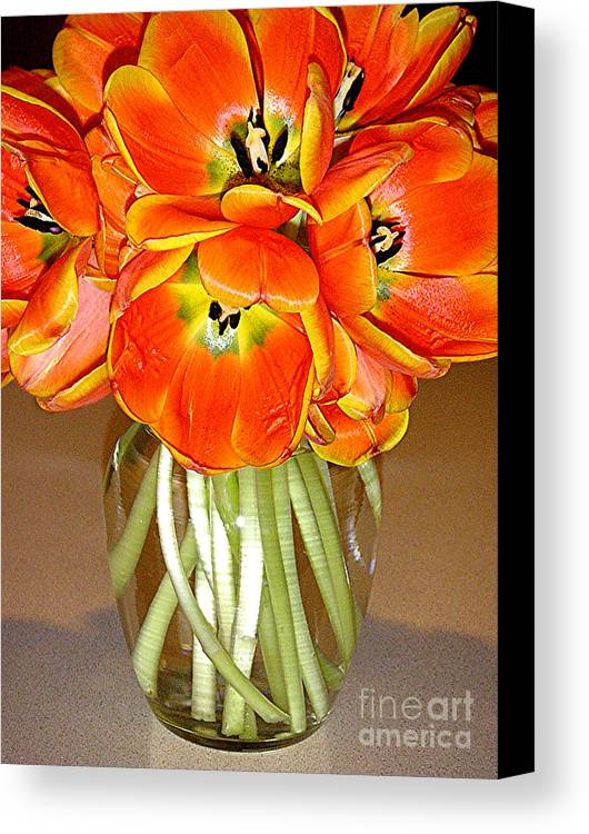 Nature Canvas Print featuring the photograph Flaming Tulips In A Vase by Lucyna A M Green