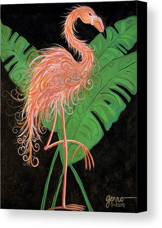 Flamingo Artwork Canvas Print featuring the painting Flamingo Art Deco by Helen Gerro