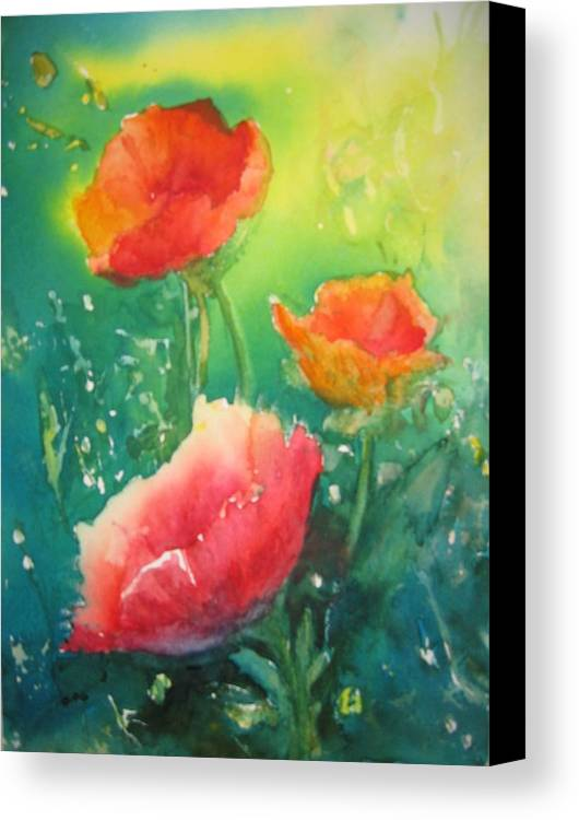 Poppies Canvas Print featuring the painting Flander's Poppies by Liz McQueen
