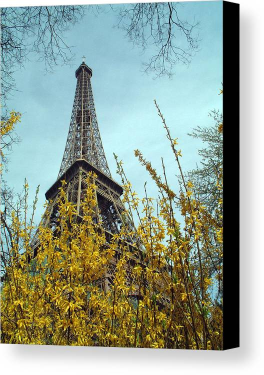 Eiffel Tower Canvas Print featuring the photograph Flowered Eiffel Tower by Charles Ridgway