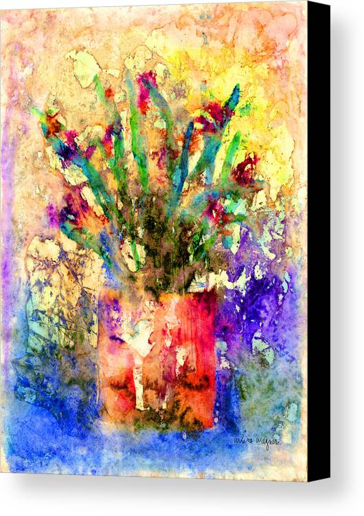 Flower Canvas Print featuring the mixed media Flowery Illusion by Arline Wagner