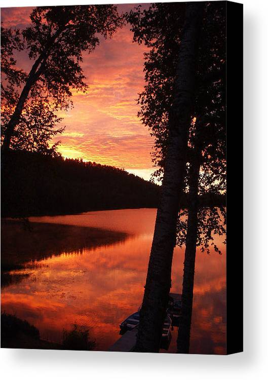 Sunrise Canvas Print featuring the photograph Fog On The Water by Mary Lynne Crispo