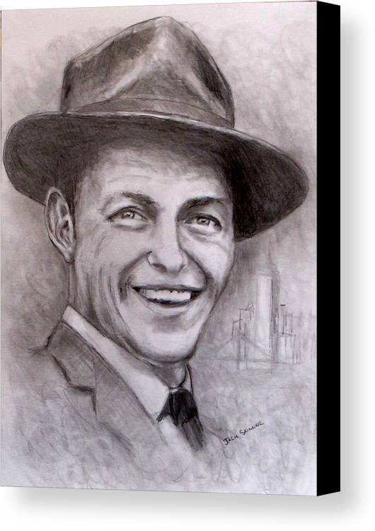 Frank Sinatra Canvas Print featuring the drawing Frank by Jack Skinner