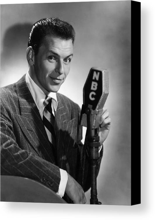 Canvas Print featuring the photograph Frank Sinatra At Nbc Radio Station 1941 by Peter Nowell