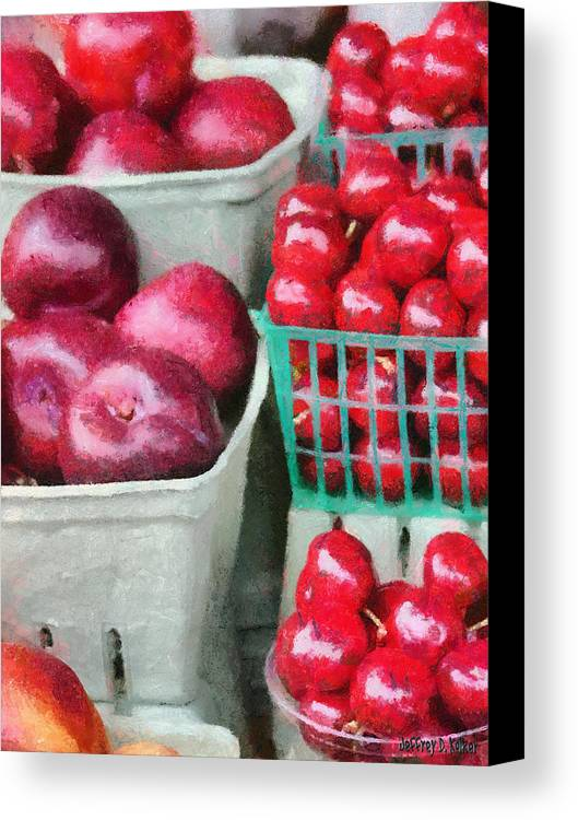 Apple Canvas Print featuring the painting Fresh Market Fruit by Jeff Kolker