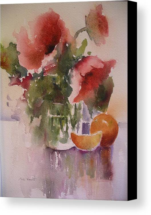 Still Life/ Flowers Canvas Print featuring the painting Full Bloom by Margaret Kent