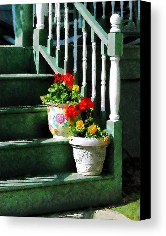 Front Steps Canvas Print featuring the photograph Geraniums And Pansies On Steps by Susan Savad