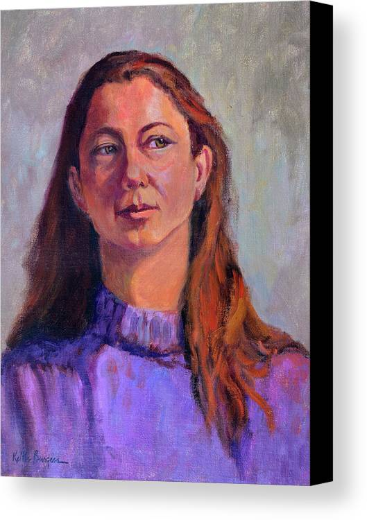 Portrait Canvas Print featuring the painting Girl In Purple by Keith Burgess