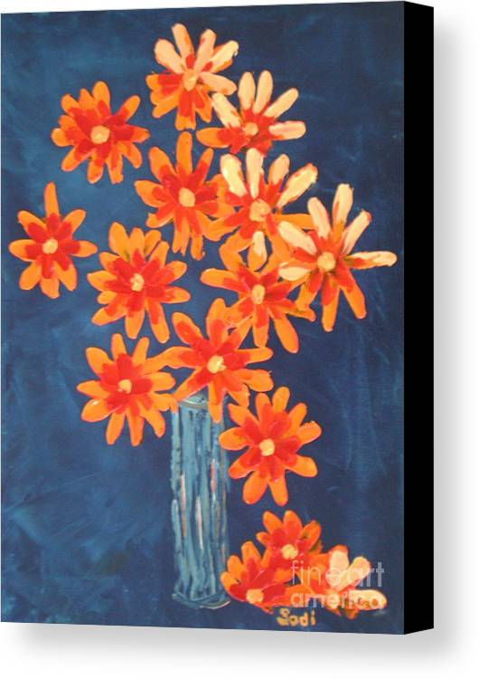 Floral Canvas Print featuring the painting Glass Of Beach Daisies by Sodi Griffin