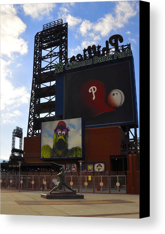 Sports Canvas Print featuring the photograph Go Phillies - Citizens Bank Park - Left Field Gate by Bill Cannon