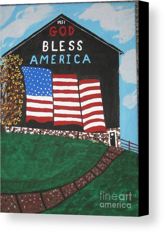 Landscape Canvas Print featuring the painting God Bless America Barn by Jeffrey Koss